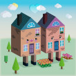 Houses in love vector 3D graphic — Stockvektor
