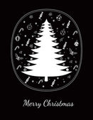 Merry Christmas greeting card on black — Stock Vector