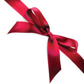 Red vector gift bow and ribbon — Vector de stock