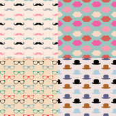 Hipster Seamless Pattern Set — Stock Vector