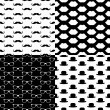 Hipster Seamless Pattern Set — Stockvektor