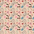 Hipster Doodles Colorful Seamless Pattern — Imagen vectorial