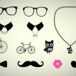 Hipster Accessory Set — Stock Vector