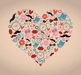 Hipster Doodles Set in Heart Shape — Stock Vector