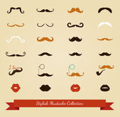 Vector colorful mustache icon set — Stock Vector