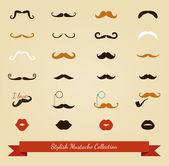 Vector colorful mustache icon set — Stock Vector