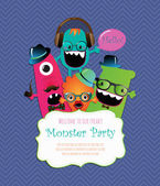 Monster Party Card Design. Vector Illustration — Stock Vector