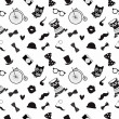 Hipster Black and White Seamless Pattern — Stock Vector