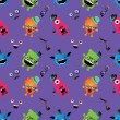 Hipster Monster Seamless Pattern — Stock Vector