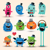 Vector Freaky Hipster Monsters Set — Stock Vector