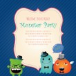 Stock Vector: Hipster Monster Party Card. Vector Illustration
