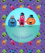 Hipster Monster Birthday Card. Vector Illustration — Stock Vector