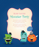 Hipster Monster Party Card. Vector Illustration — Stock Vector