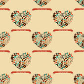 Hipster Love Colorful Seamless Pattern — Stock Vector