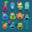 Vector Christmas Freaky Hipster Monsters Set — Stock Vector #37281297
