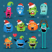 Vector Christmas Freaky Hipster Monsters Set — Stock Vector