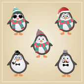 Winter Hipster Penguins Illustration — Stock vektor