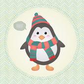 Cute Penguin in Textured Frame design illustration — Stock Vector