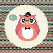 Hipster Owl in Textured Frame design illustration — Stock Vector
