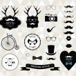 Stock Vector: Hipster style elements, icons and labels