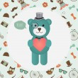 Hipster Bear holding Heart illustration — Stock Vector