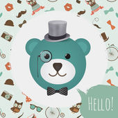 Hipster Bear Head Card vector illustration — Vettoriale Stock