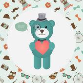 Hipster Bear holding Heart illustration — Stock Vector