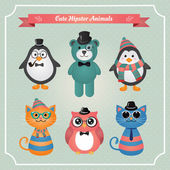 Cute fashion Hipster Animals & pets — Stockvektor