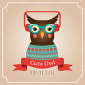 Vector Illustration of Hipster Owl — Stok Vektör