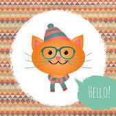 Gato hipster ilustração design de moldura texturizada — Vetor de Stock
