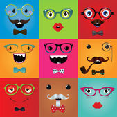 Set of funny hipster monster eyes — Stock Vector