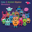 Cute and Stylish Hipster Monsters Illustration — Stock Vector