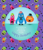 Hipster Monster Birthday Card. Vector Illustration — Wektor stockowy