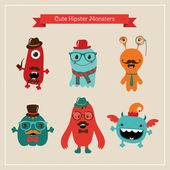Vector Cute Retro Hipster Monsters Set — Vetorial Stock