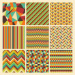 Seamless retro geometric hipster background set. — Stock Vector