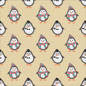 Cute Hipster Penguins Seamless Background — Stock Vector