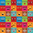 Funny hipster monster faces seamless background — Stock Vector #39933879