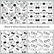Hipster Black and White Seamless Patterns — Stock Vector