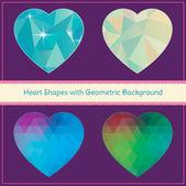 формы сердца с геометрической гранж-фон — Cтоковый вектор