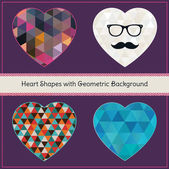 Heart Shapes with Geometric Grunge Background — Vettoriale Stock