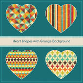 Heart Shapes with Geometric Grunge Background — Stock Vector
