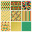 Seamless retro geometric hipster background set. — Stockvector