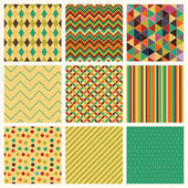Seamless retro geometric hipster background set. — Stockvektor