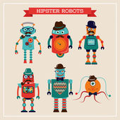 Set of cute retro vintage hipster robots — Stock Vector