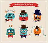 Set of cute retro hipster robots heads — Stock Vector