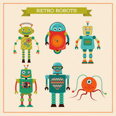 Set of cute retro vintage robots — Stock Vector