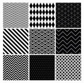 Seamless black and white geometric background set. — Stock Vector