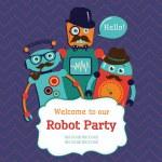 Robot Party Invitation Card Design — Stock Vector