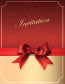 Vector Vintage Invitation card with Bow — Stockvektor