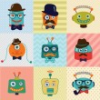 Hipster Vintage Cute Fashion Robots — Stock Vector